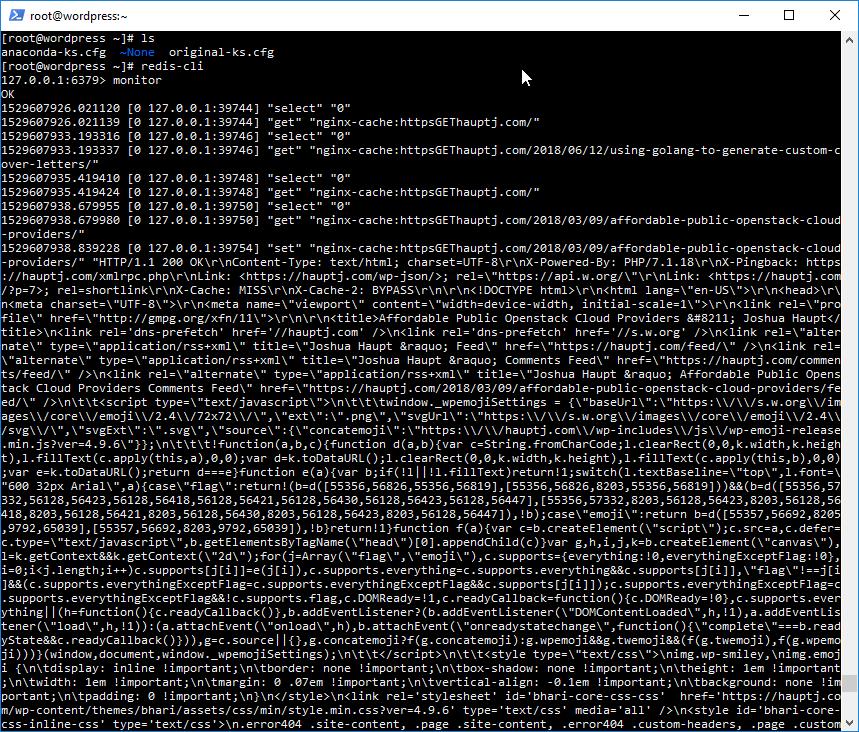 redis-cli monitor output